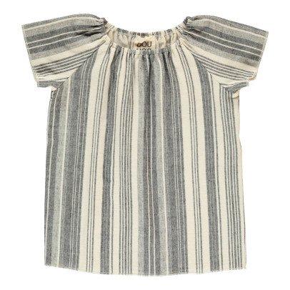 Douuod Togata Striped Blouse-listing