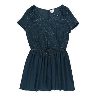 Blune Stardust Lurex Polka Dot Wrap Dress-listing