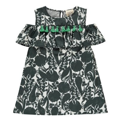 Douuod Kurosawa Ruffle Pompom Dress-listing