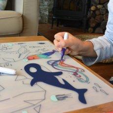 Superpetit Set de mesa para colorear con 5 rotuladores y una pulsera -listing