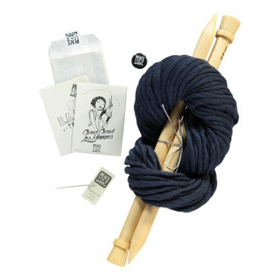 Peace and Wool Navy Blue DIY Knitting Kit-listing