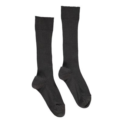 Noro Ribbed Scottish Lisle Cotton Socks Grey-listing