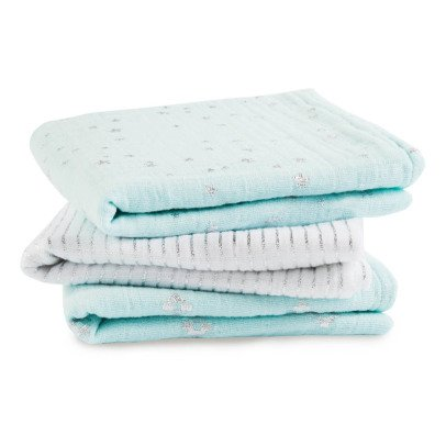 aden + anais  Silver Printed  Sky Blue and White Swaddling Blanket - Pack of 3-listing