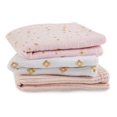 aden + anais  Manta blanco y rosa estampados dorados - Pack de 3-listing