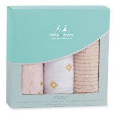 aden + anais  Gold Printed Pink and White Swaddling Blanket - Set of 3-listing