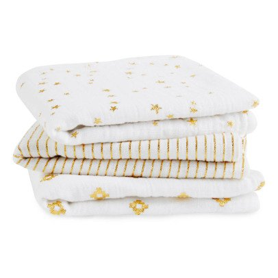 aden + anais  Gold Printed White Swaddling Blanket - Pack of 3-listing
