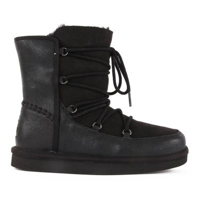 Ugg Eliss Leather Lace Boots Noir-listing