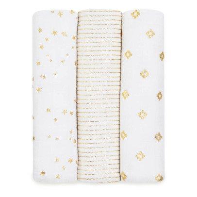 aden + anais  Manta grande blanco estampados dorados - Pack de 3-listing