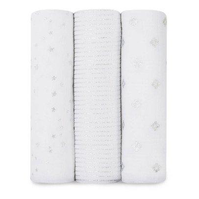 aden + anais  Manta grande blanco estampados plateados - Pack de 3-listing