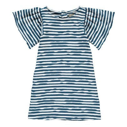 Kidscase Gestreiftes Kleid aus Bio-Baumwolle Wave -listing