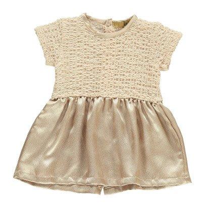 Gold Vestido Bi-materiales Klary-listing