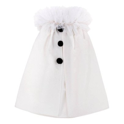 Mouche White Colombine Cape with Black Pompoms-listing
