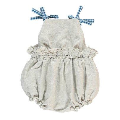 Bonnet à pompon Vichy Romper with Braces-listing