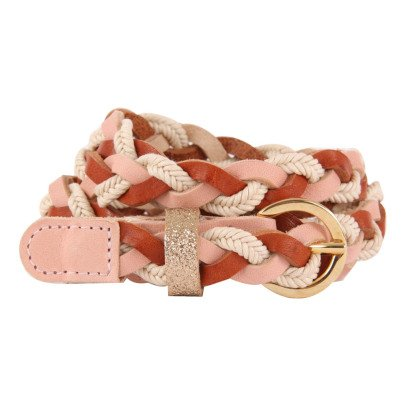 Des petits hauts Peny Leather and Glitter Plaited Belt-listing