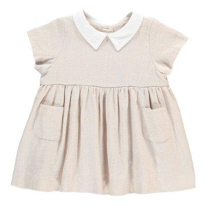 Bonnet à pompon Shirt Colar Linen Dress-listing