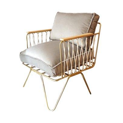 Honoré Velvet Matte Gold Croisette Armchair-listing