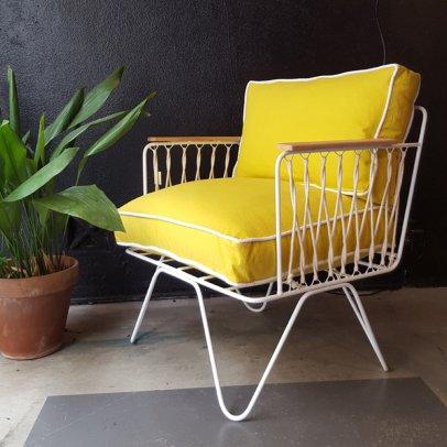 Honoré Fauteuil Croisette blanc, coton jaune-listing