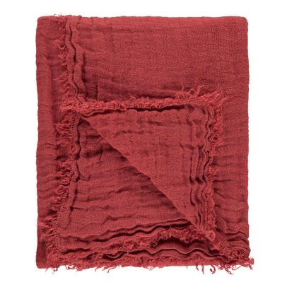 Linge Particulier Lined Gauze Washed Linen Plaid with Fringe-product