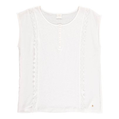 Des petits hauts Kasari Ruffled Cotton and Linen T-Shirt-product