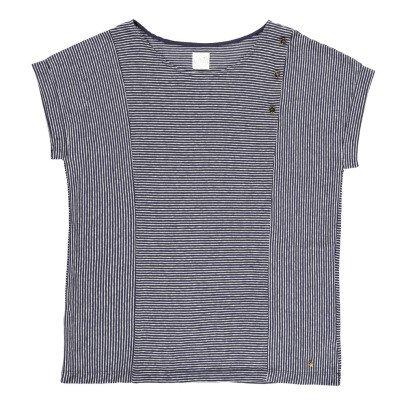 Des petits hauts Camiseta Algodón y Lino Abotonada Rayas Jasale-listing