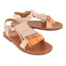 Gallucci Boucle Leather Fringed Sandals-listing