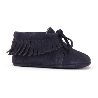 Gallucci Fringed Lace-Up Suede Slippers-listing