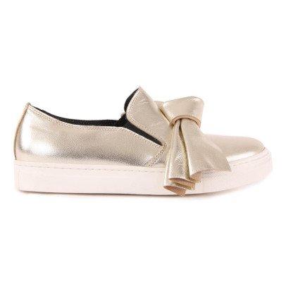 Gallucci Bow Metallic Leather Slip-Ons-listing