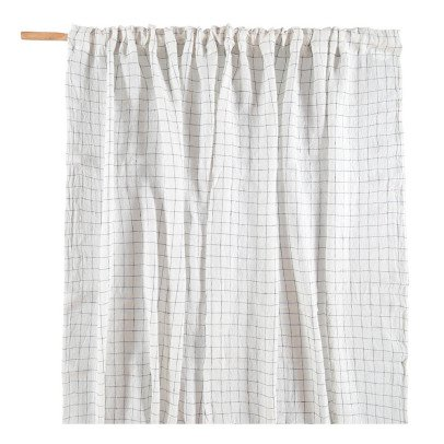 Linge Particulier Navy Blue XL Check Fur Washed Linen Curtain-listing