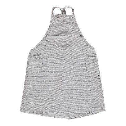 Linge Particulier Children's Black and White Striped Pinafore Dress in Washed Japanese Linen with Cross Back-listing