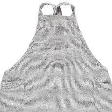 Linge Particulier Delantal japonés en lino lavado Rayas Negro - Blanco -espalda cruzada - infantil-product