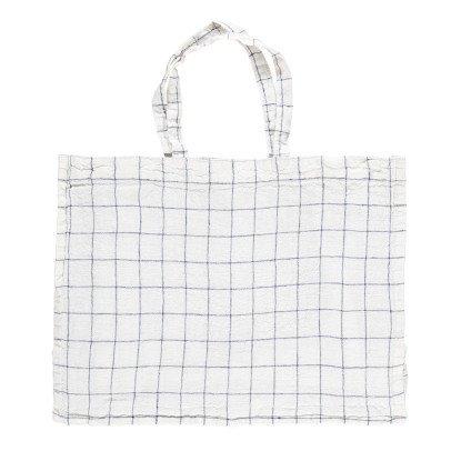 Linge Particulier Shopper lino lavato XL quadretti bianchi-listing