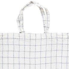 Linge Particulier Cabas en lin lavé Carreaux XL Blanc-Marine-listing