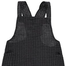 Linge Particulier Adult's Checked Pinafore Dress in Washed Japanese Linen with Cross Back-listing