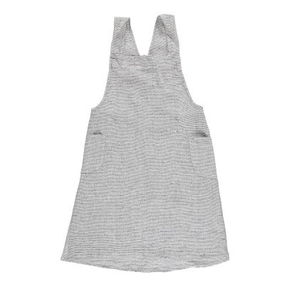 Linge Particulier Adult's Black and White Striped Pinafore Dress in Washed Japanese Linen with Cross Back-product