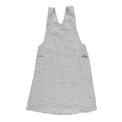Linge Particulier Delantal japonés en lino lavado Rayas Negro - Blanco -espalda cruzada - adulto-listing