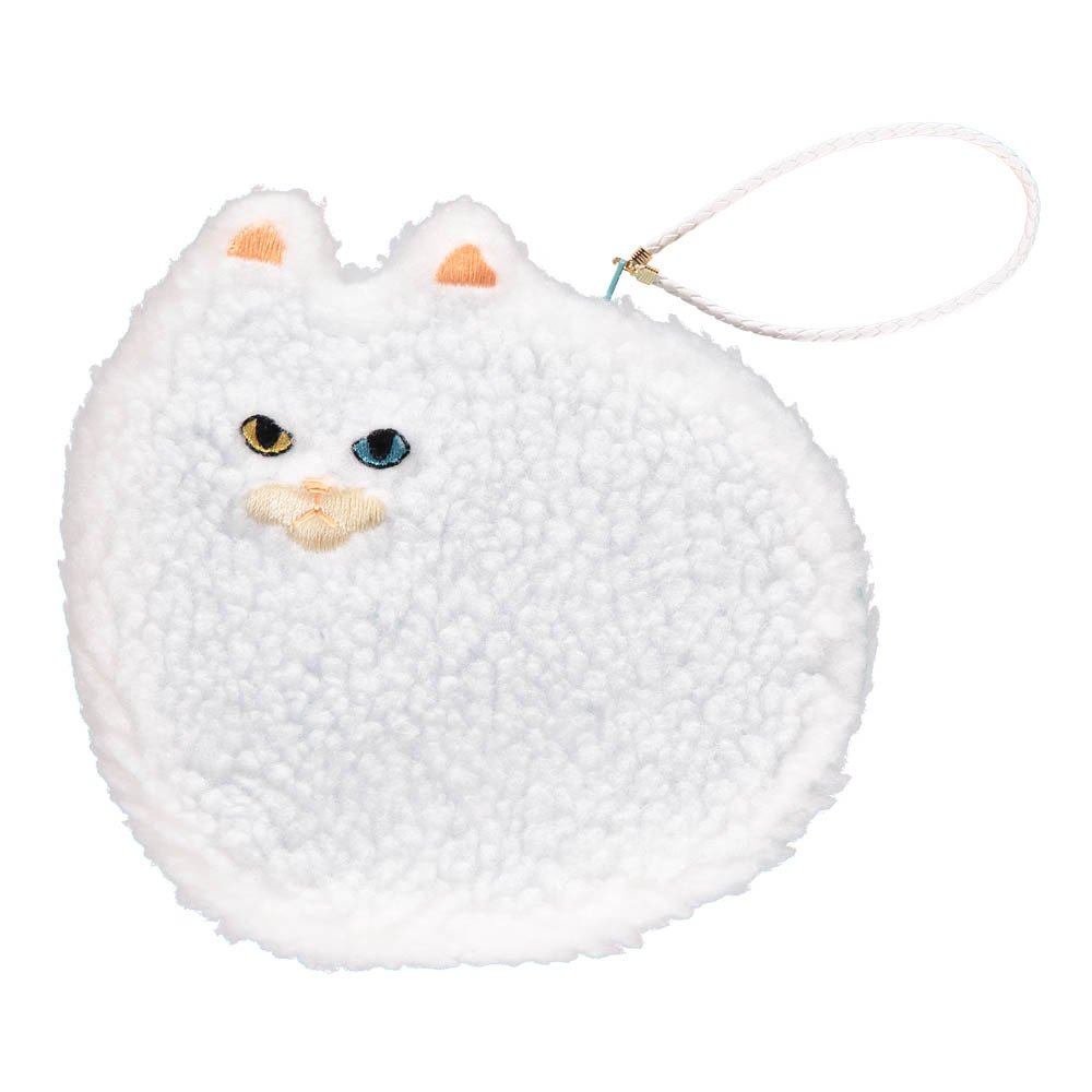 Keora Keora Fluffy Cat Large Pouch White-product