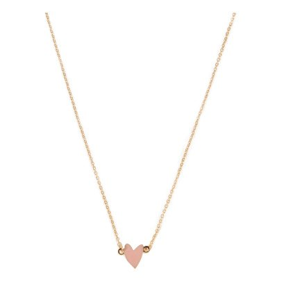 Titlee Cranberry Heart Gold Brass Necklace-listing