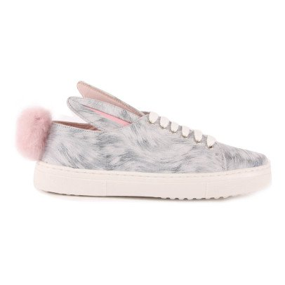 Minna Parikka Fur Tail Pompom Print Leather Trainers-listing
