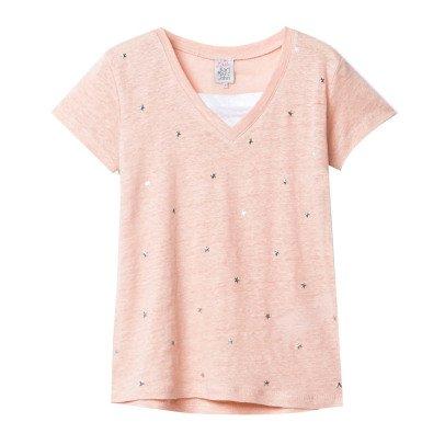 Little Karl Marc John Tanishy Star V-Neck Linen T-Shirt-listing