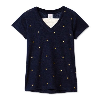 Little Karl Marc John Tanishy Star V-Neck Linen T-Shirt-listing