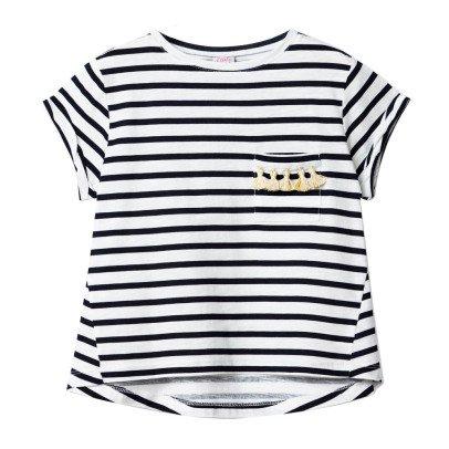 Little Karl Marc John T-Shirt Rayé Poche Pompons Tipsy-listing