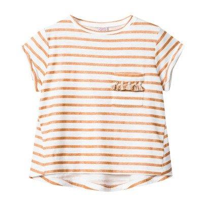 Little Karl Marc John Tipsy Pompom Pocket Striped T-Shirt-listing