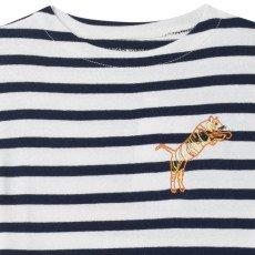 Maison Labiche Tiger Embroidered Stripe T-Shirt Navy blue-listing