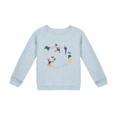 Maison Labiche Jungle Embroidered Marl Sweatshirt Pale blue-listing