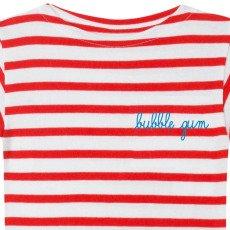 Maison Labiche Gestreiftes T-Shirt Bubble Gum Stickerei  Rot-listing