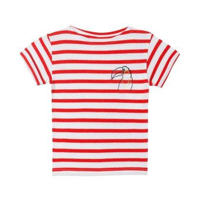 Maison Labiche Bird Embroidered Stripe T-Shirt Red-listing
