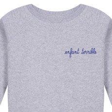 Maison Labiche Terrible Child Embroidered Marl Sweatshirt Pale blue-listing