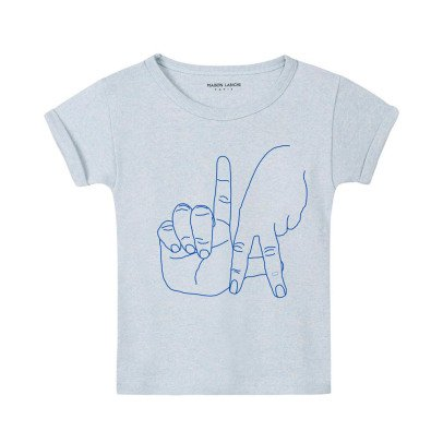Maison Labiche Hand Embroidered LA Marl T-Shirt Pale blue-listing