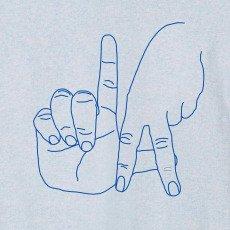 Maison Labiche Meliertes T-Shirt L.A Stickerei  Blassblau-listing