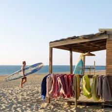 Maison de vacances Plaid vice versa frangé en lin froissé lavé Blanc Ecru-listing